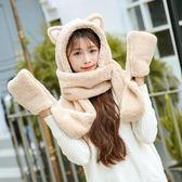 冬可愛卡通貓耳朵帽套裝雙層加厚保暖OR1195『miss洛羽』