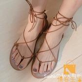涼鞋女仙女風時尚度假波西米亞綁帶網美平底羅馬鞋【慢客生活】