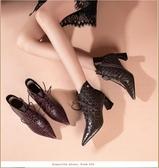 手工真皮女鞋34~41 2020新款法式復古頭層牛皮方格綁帶尖頭中跟短靴子 ~2色