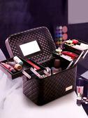大容量化妝包女多功能層小號便攜手提化妝品收納盒簡約箱   宜室家居