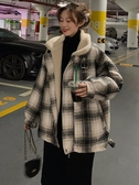 外套毛呢大衣女中長款2019秋冬新款復古格子寬松加厚羊羔毛赫本風外套