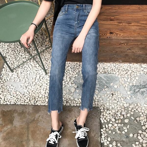 高腰直筒牛仔褲 女直筒褲 九分直筒 寬版 牛仔褲女 老爺褲 哈倫褲女 藍色 依米迦 500-501-S84