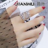 歐美經典時尚氣質女神鍍18K金微鑲鋯石樹葉戒指