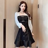 牛仔洋裝 法式小個子雪紡拼接長袖牛仔裙早秋新款氣質蝴蝶結收腰魚尾連身裙 艾維朵