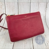 BRAND楓月 CELINE TRIO 小款 桃紅色 舊款 三層拉鍊包 斜背包 單肩包
