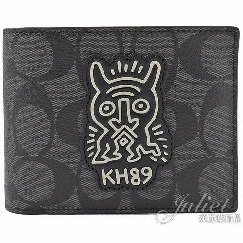 茱麗葉精品【專櫃款 全新現貨】COACH 68217 Keith Haring 聯名限量附活動夾短夾.黑灰