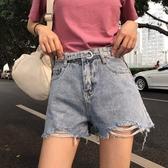 牛仔短褲女夏裝牛仔短褲高腰寬鬆破洞闊腿褲淺色毛邊熱褲子潮新年禮物