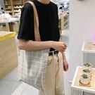 帆布包 格子 雙色 兩用 內袋 12安 超挺 帆布 【創意巴巴】