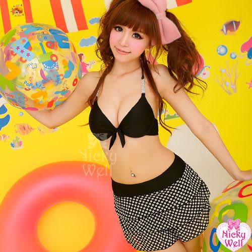 【性感寶盒】★熱戀一夏!亮眼水鑽二件式鋼圈泳裝組★黑+黑底白點┌NA12070006