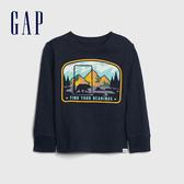Gap男幼童 創意風格印花圓領長袖T恤 617814-海軍藍
