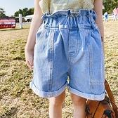 韓版花苞高腰牛仔短褲 童裝 短褲 牛仔褲