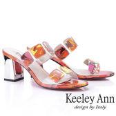 ★2019秋冬★Keeley Ann時尚膠片 熱帶巴西風高跟拖鞋(黃色)-Ann系列