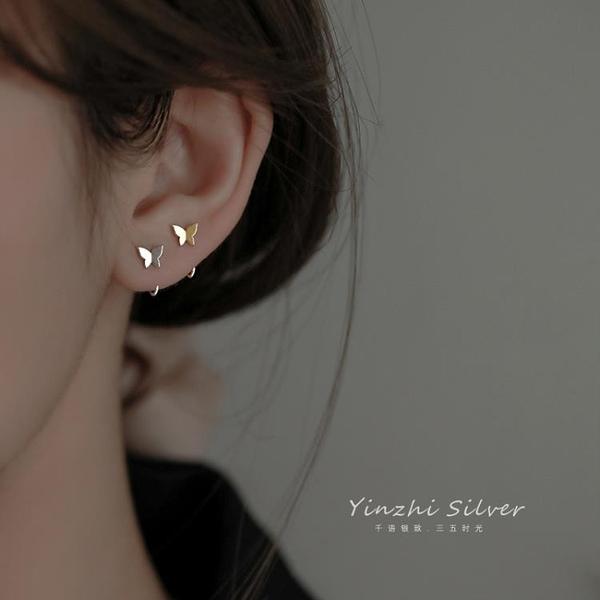 純銀蝴蝶耳釘女夏季耳飾2021耳圈小眾設計感耳扣耳環2020年新款潮 快速出貨
