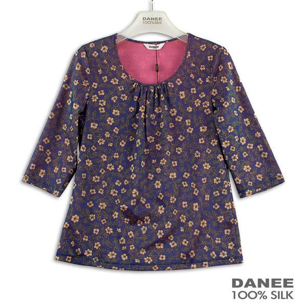 【岱妮蠶絲】抓皺圓領七分袖蠶絲上衣(紫色)