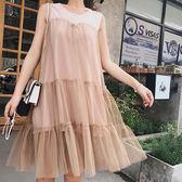 無袖洋裝 網紗 拼接 寬下襬 時尚 無袖洋裝 連身裙【NDF6386】 icoca  05/03