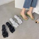 分趾涼拖鞋女夏網紅方頭一字拖豬蹄鞋粗跟百搭外穿潮女鞋 - 風尚3C