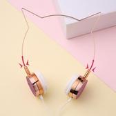 ?網紅學生貓耳朵耳機頭戴式女生可愛萌潮韓版有線帶麥發箍式