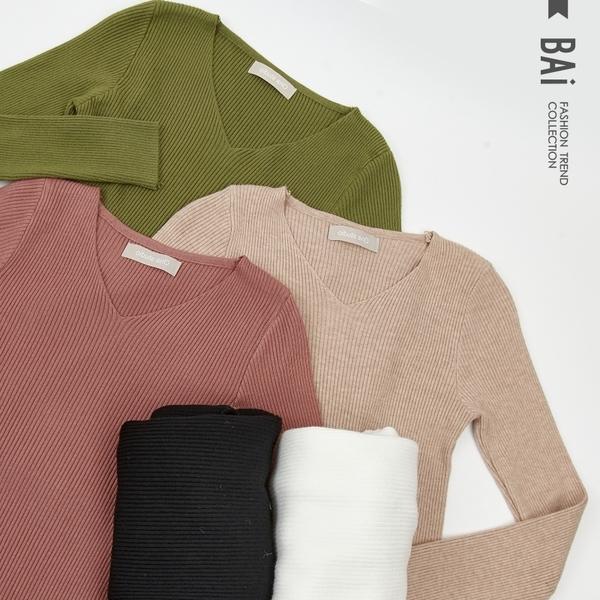 針織衫 舒適的手感溫度!坑條羅紋超彈性V領上衣-BAi白媽媽【301920】
