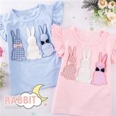 韓版最新~兔兔好朋友荷葉小飛短袖上衣-2色(290601)【水娃娃時尚童裝】
