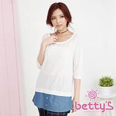 betty's貝蒂思 圓領壓紋拼接牛仔布針織衫(白色)