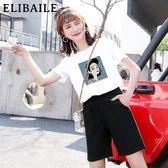 運動套裝女2019新款夏季韓版休閒百搭短袖時尚大碼五分短褲兩件套