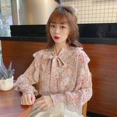 小清新打底雪紡衫女春季新款甜美碎花荷葉邊顯瘦洋氣長袖上衣 - 風尚3C