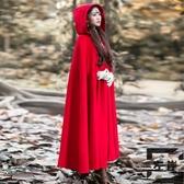 斗篷毛呢大衣女外套復古小紅帽披風秋冬多色【左岸男裝】