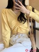 V領上衣 春季新款百搭韓版短款針織衫女純色抽繩修身顯瘦露臍v領長袖上衣 小天使