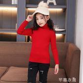 女童韓版洋氣針織衫秋冬新款中大童女孩高領毛衣加厚套頭毛衣 芊惠衣屋