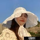 遮陽帽 女子春夏大檐防曬帽親子洋氣遮陽帽女童薄款太陽帽蕾絲公主帽子女【全館免運】布衣