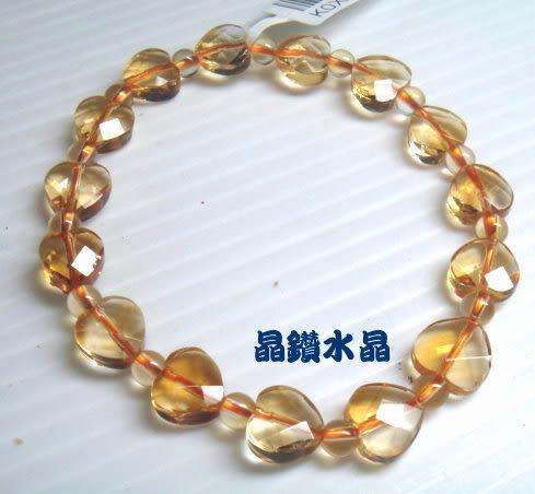 『晶鑽水晶』天然黃水晶手鍊8mm心型鑽石切割角度~光亮度超佳! 強力招財-送禮物附禮盒*免運