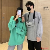 情侶裝 秋季2020新款韓版流行法式情侶裝寬鬆中長款日系古著ins連帽T恤女潮