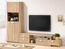 【森可家居】多莉絲6.8~9.4尺L櫃(全組) 7ZX363-2 客廳高低櫃 展示 電視櫃 木紋質感 無印風 北歐風