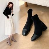 大尺碼女鞋34~43 2020歐美優雅百搭絨皮拼接方頭中跟短靴~2色
