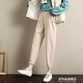毛呢保暖褲女-加絨老爹毛呢褲子女秋冬新款寬鬆直筒奶奶闊腿休閒褲蘿卜女褲 多麗絲