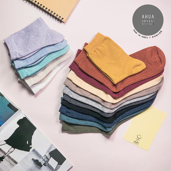 正韓直送【K0155】韓國糖果純色條紋中筒襪 韓妞必備 百搭純色基本款 素色長襪 阿華有事嗎