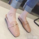 半拖鞋女外穿新款韓版時尚方頭穆勒鞋平底粗跟包頭懶人女涼拖 茱莉亞