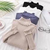 長袖針織-秋冬裝新款半高領加厚毛衣女短款木耳邊針織衫長袖保暖 提拉米蘇