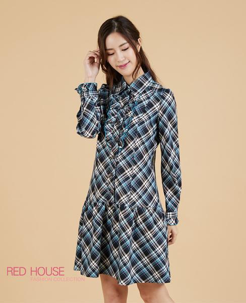 【RED HOUSE 蕾赫斯】英倫風格紋荷葉洋裝(共2色)