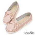 訂製鞋 MIT蝶結車縫白真皮底莫卡辛鞋-艾莉莎ALISA【24618853】粉色下單區