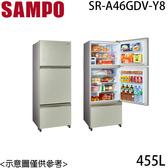 【SAMPO聲寶】 455L 1級三門變頻冰箱 SR-A46GDV-Y8 含基本安裝 免運費