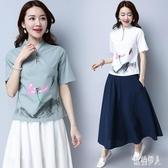 棉麻上衣女2020夏季新款大碼寬鬆短袖中國風印花復古T恤短款亞麻 TR1268『紅袖伊人』