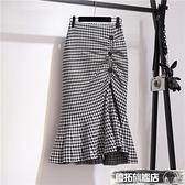秋冬裙子高腰魚尾裙復古格子半身裙女中長款開叉針織包臀裙一步裙 優拓