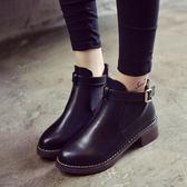 短靴春秋女 百搭粗跟中跟馬丁靴裸靴圓頭百搭短靴女靴子 One shoes