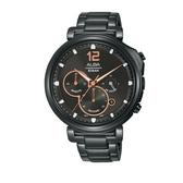 ALBA雅柏 新上市廣告款文青三眼計時碼錶VD53-X302SD (AT3E05X1)黑