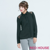【RED HOUSE 蕾赫斯】葉子蕾絲肩膀拼接上衣(黑色) 任選2件899元