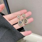 S925超閃鑲鉆水滴形耳環女韓國個性百搭耳墜歐美夸張耳釘耳飾耳夾 極簡雜貨