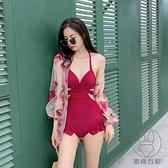 性感連身泳衣女溫泉連體罩衫兩件套顯瘦遮肚韓國【貼身日記】