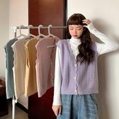 EASON SHOP(GW8880)糖果色小洞鏤空波浪花邊針織背心 無袖上衣 V領 針織上衣 外套 毛衣 罩衫