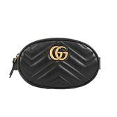 GUCCI Marmont 斜紋皮革復古金屬LOGO手拿腰包(85cm 黑色)